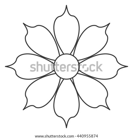 Hand drawn black white flower outline stock vector 596188733 black line flower icon mightylinksfo Gallery