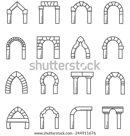 Black line icons vector collection arches stock vector for Brick types and styles