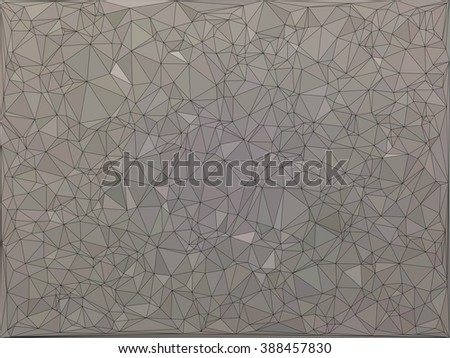 Black line on brown low poly pattern background (black stained glass style)