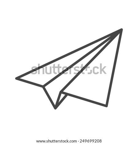 black linear paper plane icon - stock vector