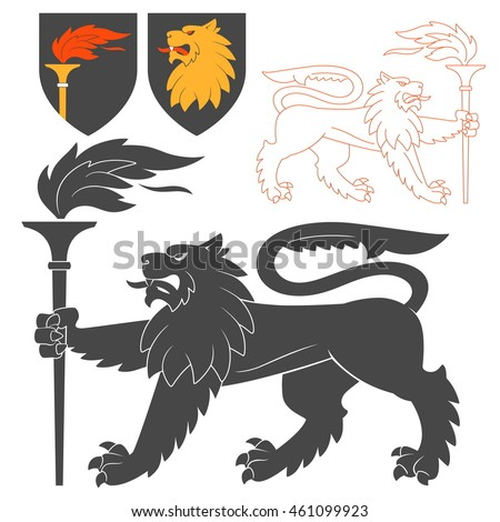 Black Lion With A Torch Illustration For Heraldry Or Tattoo Design Isolated On White Background. Heraldic Symbols And Elements