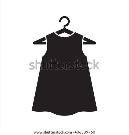 Black little dress on hanger.Dress Icon Object/Dress Icon Picture/Dress Icon Drawing/Dress Icon Image/Dress Icon Graphic/Dress Icon Art/Dress Icon JPG/Dress Icon JPEG/Dress Icon EPS/Dress Icon AI - stock vector