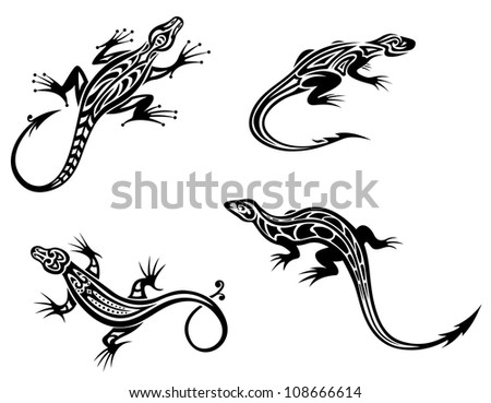 Black lizards isolated on white background in tribal style with decorative elements. Jpeg version also available in gallery - stock vector