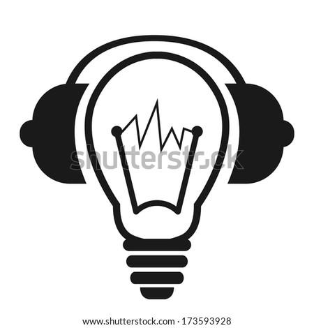 Black logo of light bulb with headphones. - stock vector