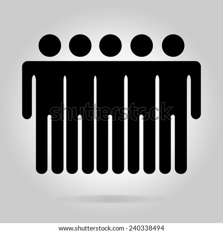 Black logotype five men. Simple silhouette information sign with gray drop shadow - stock vector