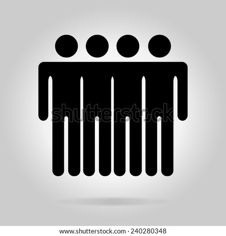 Black logotype four men. Simple silhouette information sign with gray drop shadow - stock vector
