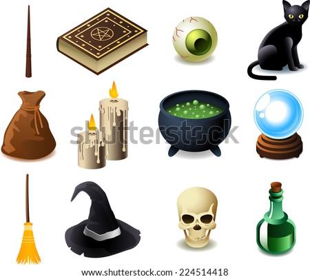 Black magic elements, Vector illustration cartoons.  - stock vector