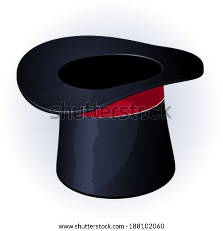 Black magic hat with red ribbon. Vector.