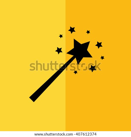 Black magic wand vector illustration. Yellow background