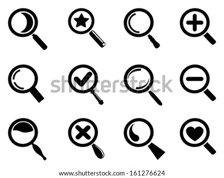 black magnifying glass icons set - stock vector