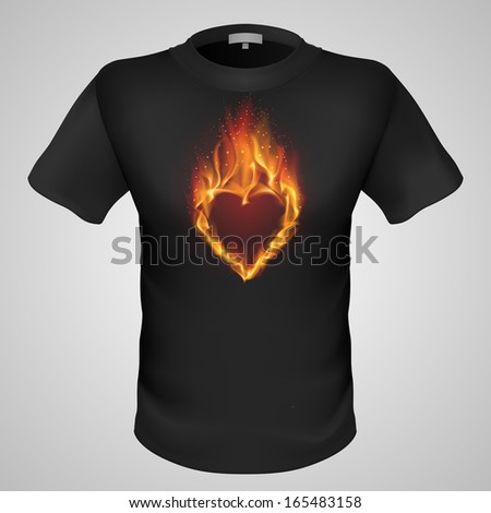 Black male t-shirt with fiery heart print on grey background. - stock vector