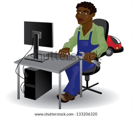 black man, mechanic, sitting at the computer with a wrench in his hand - stock vector