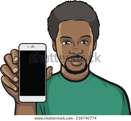 black man showing a mobile app on a smart phone - stock vector
