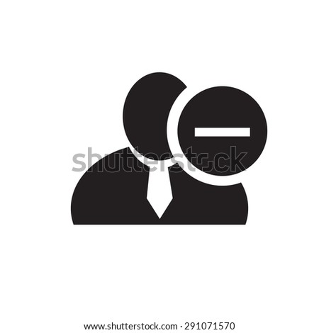 Black man silhouette icon with minus sign in an information circle, flat design icon for forums or web - stock vector