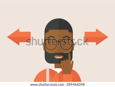 Black man thinking which way to go left or right arrows. Choosing concept.  A Contemporary style with pastel palette, soft pink tinted background. Vector flat design illustration. Horizontal layout. - stock vector