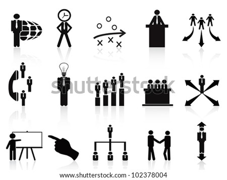 black management icons set - stock vector