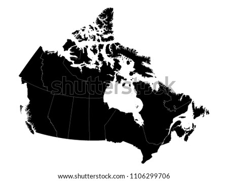black map of canada with provinces
