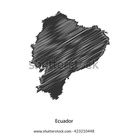 Black map of Ecuador for your design, concept Illustration. - stock vector