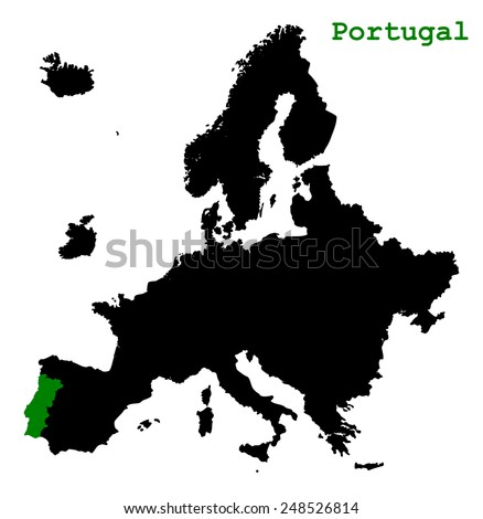 Black map of Europe continent with green color country Portugal. cartography concept, silhouette graphic design, vector art image illustration, isolated on white background - stock vector