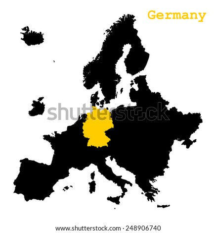 Black map of Europe continent with yellow color country Germany. cartography concept, silhouette graphic design, vector art image illustration, isolated on white background - stock vector
