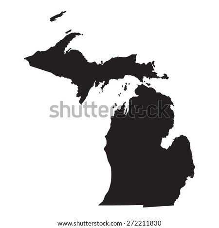 black map of Michigan - stock vector