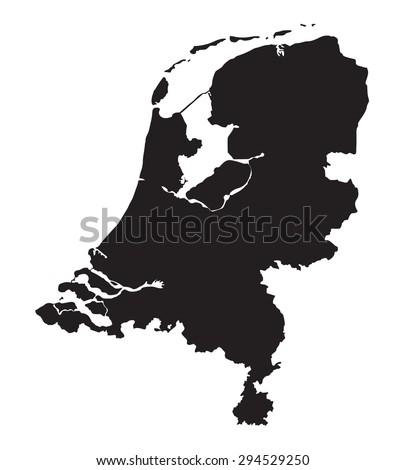 black map of Netherlands - stock vector