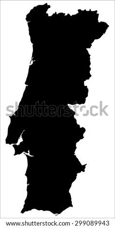 Black map of Portugal isolated on white background