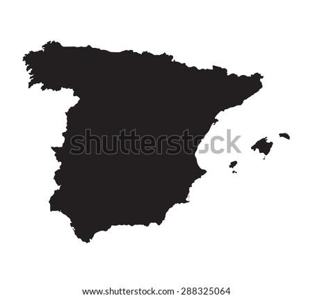 black map of Spain - stock vector