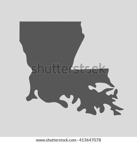 Black map of the State of Louisiana - vector illustration.  - stock vector