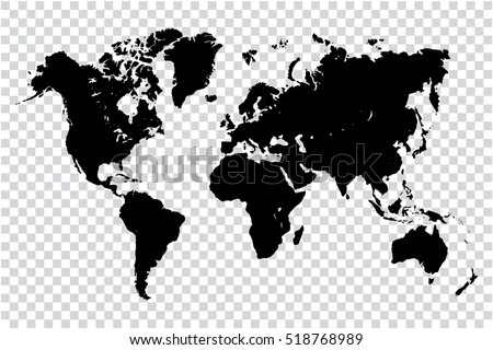 Black map world on transparent background vector de stock518768989 black map of world on transparent background vector illustration eps 10 monochrome template for gumiabroncs Choice Image