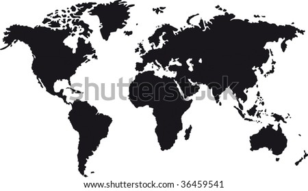 Black map of world with countries borders - stock vector