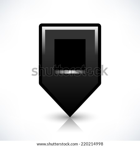 Black map pin location sign rounded square shape icon with shadow and reflection isolated on white background in simple flat style. Web design element save in vector illustration 8 eps - stock vector