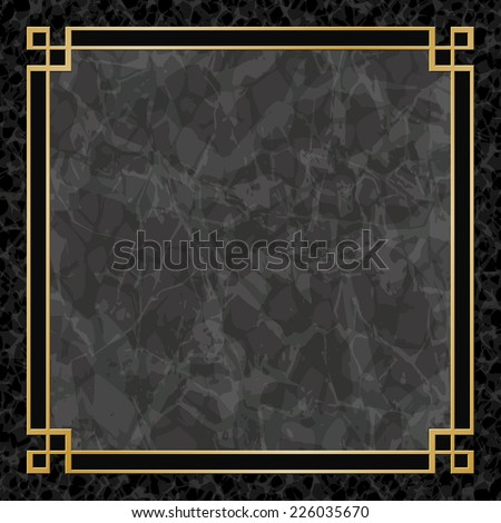 Black Marble Background with Gold Frame, Border. - Vector EPS 10 - stock vector