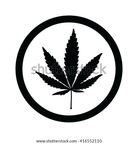 Black marijuana leaf in circle icon vector illustration - stock vector