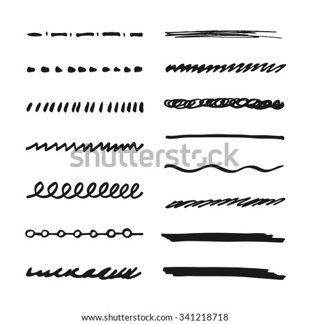 Black Marker strokes. Set of hand drawn highlighting elements for text selection and underline. Brush for illustrator - stock vector