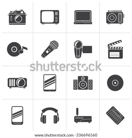 Black Media and technology icons - vector icon set