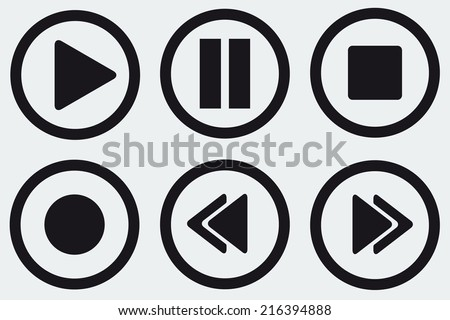 Black media player buttons collection vector - stock vector