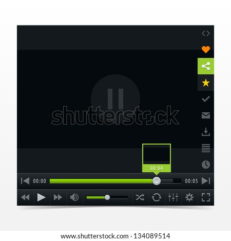 Black media player with video loading bar. Contemporary classic  dark style skin. Variation 03 (color green). UI user interface control buttons. Vector illustration web design element in 10 eps - stock vector