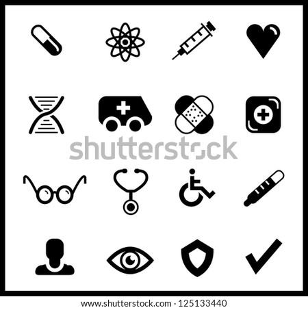 Black medical icon set - stock vector