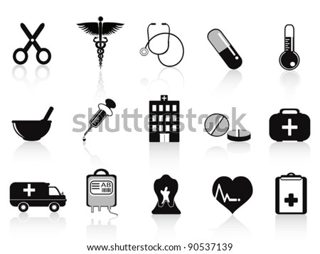 black medical icons set - stock vector