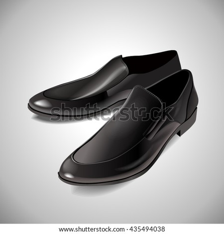 Black men's glossy patent leather shoes. Vector photorealistic illustration of a white background.