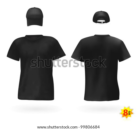 Black men's t-shirts and baseball cap. - stock vector