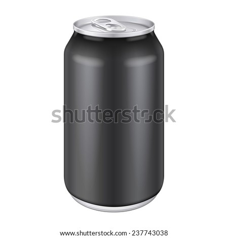 Black Metal Aluminum Beverage Drink Can 330ml, 500ml. Mockup Template Ready For Your Design. Isolated On White Background. Product Packing. Vector EPS10 Product Packing Vector EPS10 - stock vector