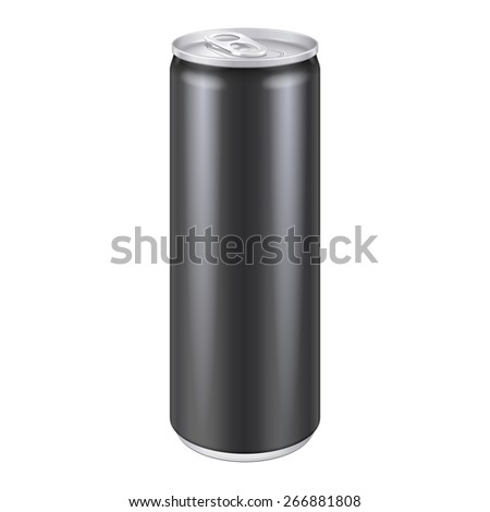 Black Metal Aluminum Beverage Drink Can 250ml. Mockup Template Ready For Your Design. Isolated On White Background. Product Packing. Vector EPS10 Product Packing Vector EPS10 - stock vector