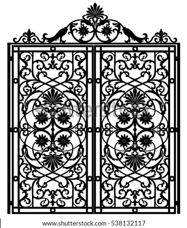 Beautiful Metal Gate With Forged Ornaments On A In Decor