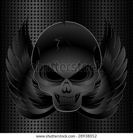 black metal grid background with skull and wings - stock vector