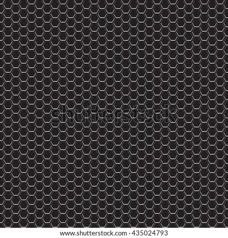 Black metal honeycomb mesh pattern seamless design on white background vector illustration.