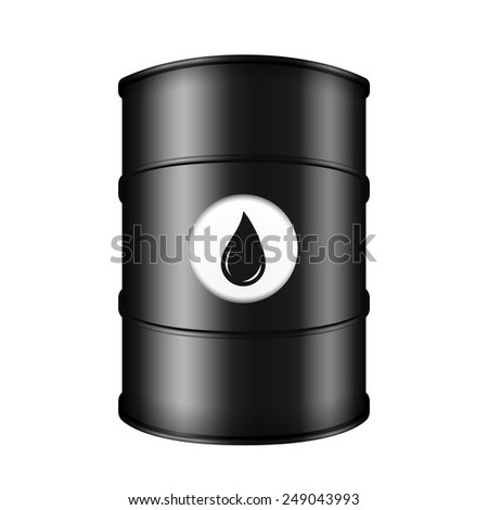 Black metal oil barrel on white background, vector eps10 illustration