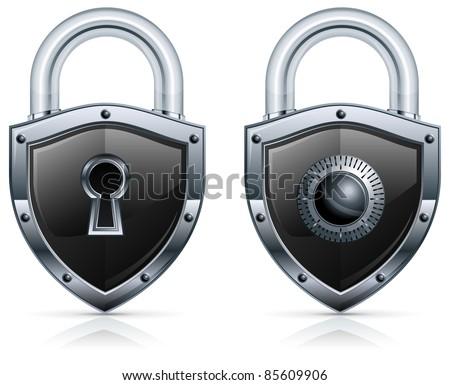 Black metal padlock in shape of shield on white, vector illustration - stock vector