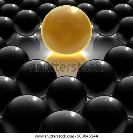 Black metallic and yellow glossy sphere.3D Vector illustration